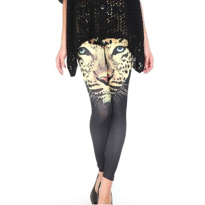 Leggings negros con estampado leopardo - Color: NegroTalla: Única (S-L)